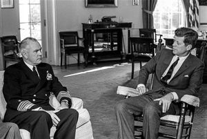 JFK and Admiral Anderson in the Oval Office, 29 October 1962