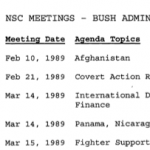 A list of National Security Council (NSC) meetings during the Bush administration.