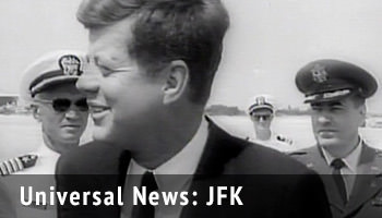 Universal Newreel reports related to President John F. Kennedy.